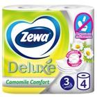 Туалетная бумага Zewa Deluxe, аромат ромашки, 3 слоя, 4 рулона