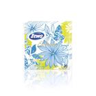 Салфетки Zewa Exclusive Décor голубые цветы, 3 слоя, 20 ш