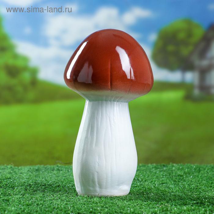 """Садовая фигура """"Белый гриб"""" малый, высокая шляпка"""