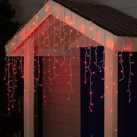 """Гирлянда """"Бахрома"""" 3 х 0.9 м , IP44, УМС, белая нить, 232 LED, свечение красное, 220 В"""