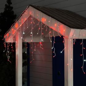 """Гирлянда """"Бахрома"""" 3 х 0.6 м , IP44, УМС, белая нить, 160 LED, свечение красное, мерцание белым, 220 В"""