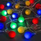 """Гирлянда """"Нить"""" с насадками """"Шарики Цветные"""", 5 м, LED-30-220V, 8 режимов, нить прозрачная, свечение мульти"""