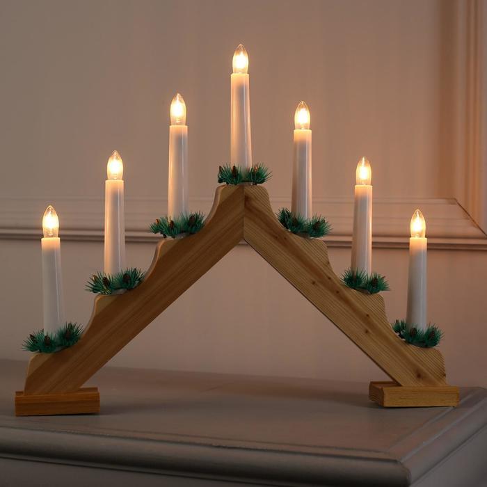 """Фигура дерв.""""Горка рождественская дерево"""", 7 свечей, 3 Вт, 34 В, Е10, 220 В, Т/БЕЛЫЙ"""