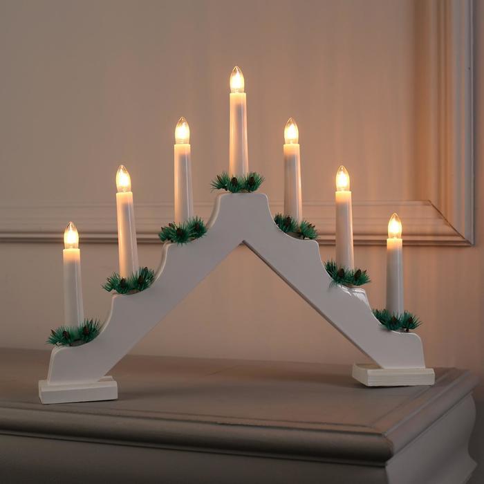 """Фигура дерев. """"Горка рождественская белая"""", 7 свечей, 3 Вт, 34 В, Е10, 220V, ТЁПЛОЕ БЕЛОЕ - фото 7931843"""