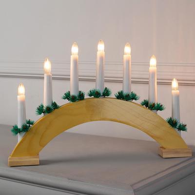 """Фигура дерев.""""Горка рождественская деревянная 2"""", 7 свечей, 3 Вт, 34 В, Е10, 220 В, Т/БЕЛЫЙ"""