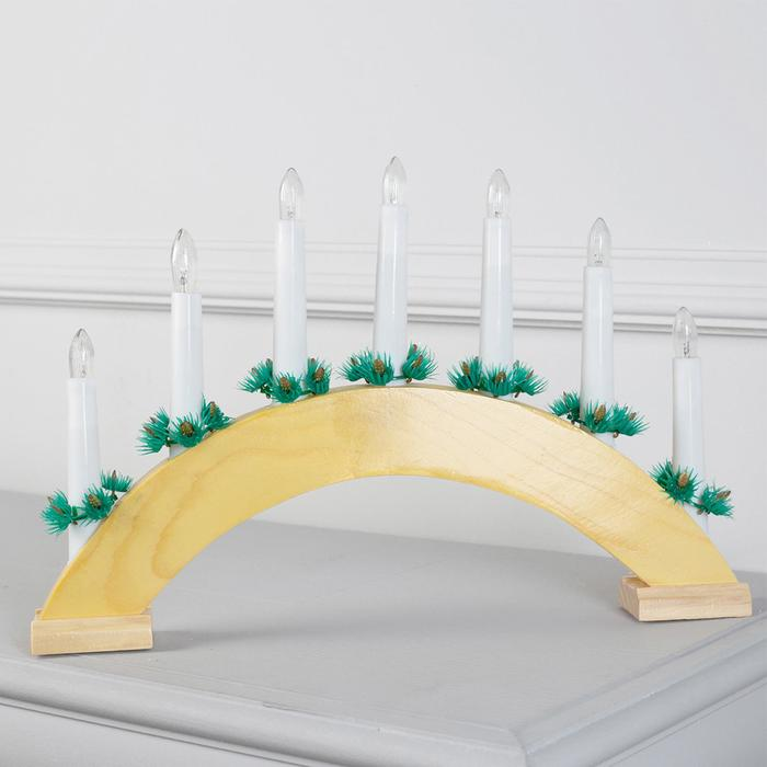 """Фигура дерв.""""Горка рождественская дерево 2"""", 7 свечей, 3 Вт, 34 В, Е10, 220 В, Т/БЕЛЫЙ"""