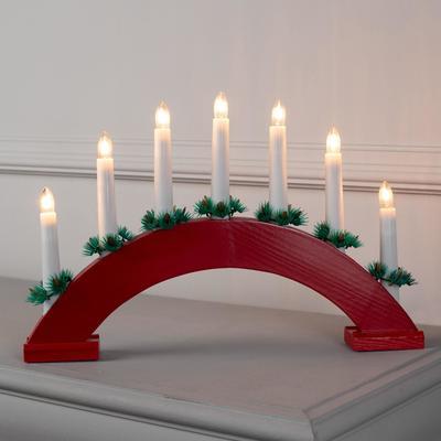"""Фигура дерев.""""Горка рождественская красная 2"""", 7 свечей, 3 Вт, 34 В, Е10, 220 В, Т/БЕЛЫЙ"""