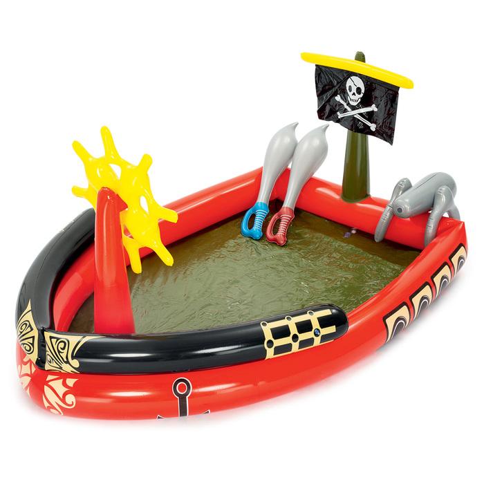 """Бассейн надувной игровой """"Пираты"""", 190 х140 х96 см, 2 меча, водяная пушка, штурвал, от 2 лет"""