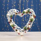 """Фигура деревянная """"Сердце из веток"""", 34х34х5 см, 3*AА (не в компл.) 8 LED, белое"""