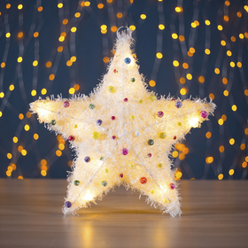 """Фигура текстиль """"Звезда с шариками"""", 10 LED, 36х8 см, от батареек (не в компл)"""