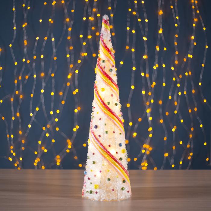 """Фигура новогодняя """"Ёлка с шариками"""", 10 LED, 60 х 15 см, от батареек (не в компл) - фото 685613180"""