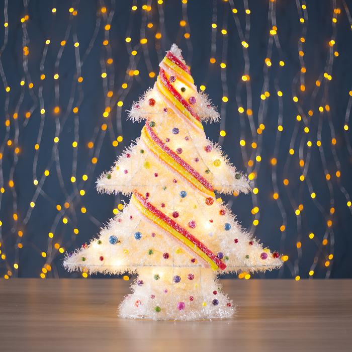 "Фигура новогодняя ""Ёлка с шариками"", 15 LED, 48 х 39 см, от батареек (не в компл)"