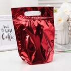 Пакет подарочный, с ручкой, металлизированный, zip lock, красный, 20 х 19,5 см