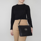 Сумка женская, отдел с перегородкой на молнии, наружный карман, регулируемый ремень, цвет чёрный
