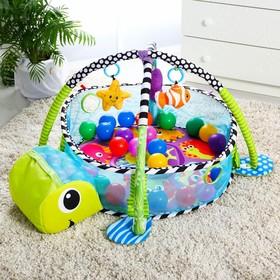 Развивающий коврик 3 в 1 «Черепаха», с шариками