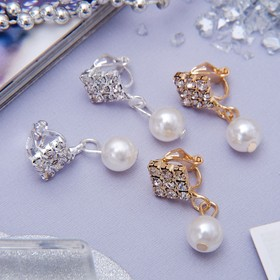 "Clip ""grace"" diamonds with bead, MIX color"