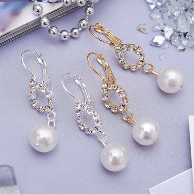 """Earrings with pearls """"grace"""", a drop bead, MIX color"""