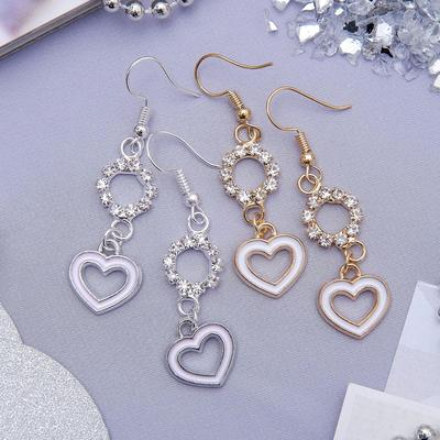 """Earrings with enamel """"grace"""" heart with round, MIX color"""