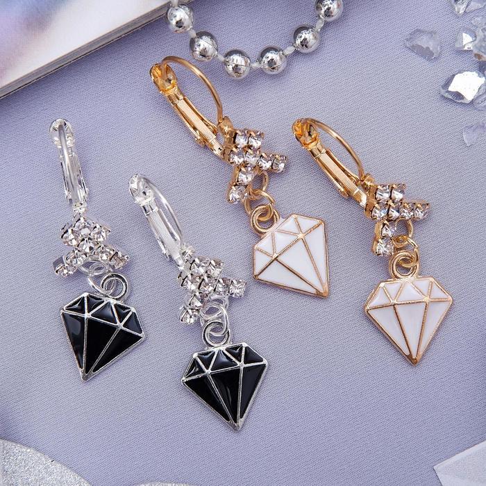 """Серьги эмаль """"Грация"""" алмаз, цвет МИКС (1 шт.)"""