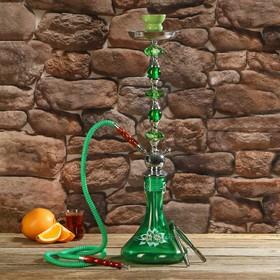 Hookah 67 cm, 1 tube, flask flat green with flowers, mine crystal
