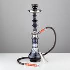 Кальян 51см 1тр, колба ваза чёрная матовая с рисунком, вставки на шахте акрил, 12х43 см