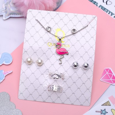 Headsets 6 items: 3 pairs posset, pendant, 2 rings Flamingo color pink in silver, 45 cm