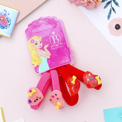 """Резинка для волос """"Звёздный ажур"""" сердечки (цена за штуку) красный, розовый"""