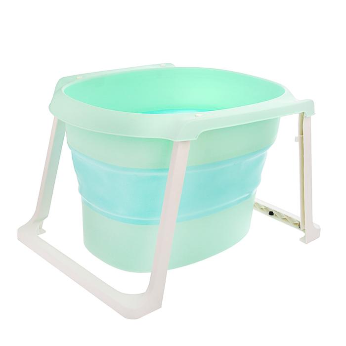 Ванночка детская складная, со сливом и термометром + ковш и стульчик для купания, цвет бирюзовый
