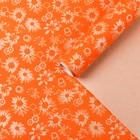 """Бумага для декорирования крафт, """"Цветы на оранжевом"""", 0,7 х 10 м"""