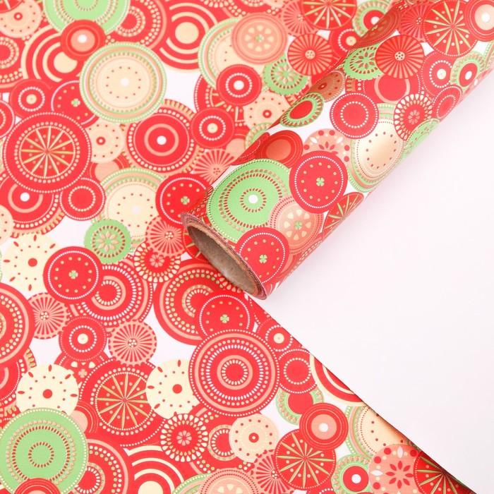 """Бумага для декорирования, """"Праздничный калейдоскоп"""", красная, 0,7 х 10 м"""
