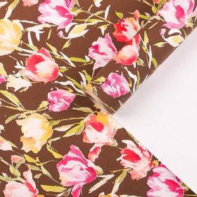 """Бумага для декорирования, """"Эустомы"""", шоколадный, 0,7 х 10 м"""
