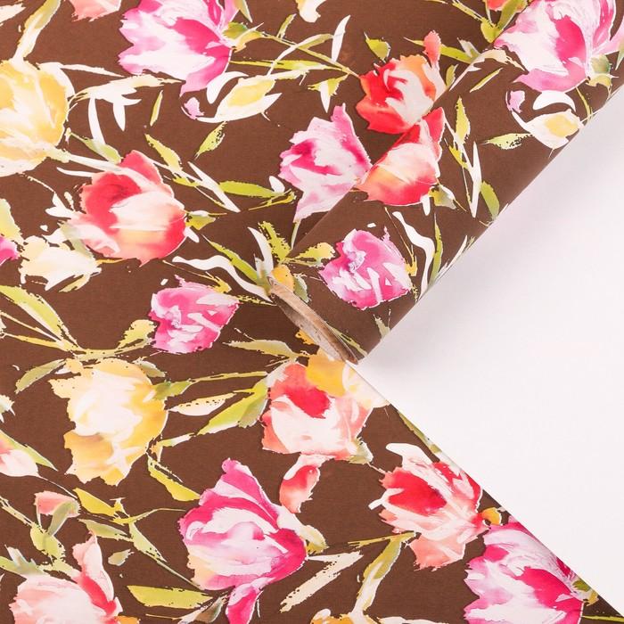 """Бумага для декорирования, """"Эустомы"""", шоколадный, 0,7 х 10 м - фото 8876795"""