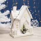 """Фигура деревянная """"Домик в снегу"""", 33х25х12 см, 2*AА (не в компл.) 10 LED, Т/БЕЛЫЙ"""