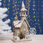 """Фигура деревянная """"Домик в снегу"""", 51х23х13.5 см, 2*AА (не в компл.) 10 LED, белый"""