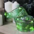 """Гирлянда """"Нить"""" Лента """"Снежинки серебристые"""" 9 м, ширина 6 см, LED-72-220V, 8 режимов, нить в цвет свечения, свечение зелёное"""