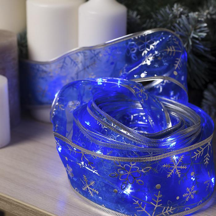 """Гирлянда """"Нить"""" 10 м роса с лентой"""" Снежинки серебристые"""", IP20, серебристая нить, 100 LED, свечение синее, фиксинг, USB"""