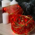 """Гирлянда """"Нить"""" Лента """"Снежинки золотистые"""" 10 м, ширина 6 см, LED(роса)-100-USB, фиксинг, нить в цвет свечения, свечение красное"""