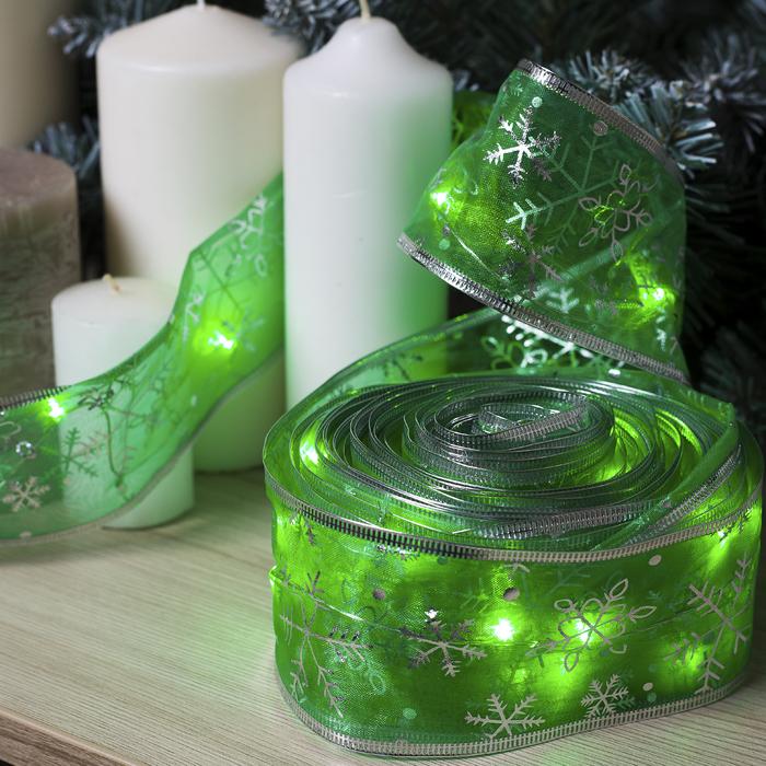 """Гирлянда """"Нить"""" 10 м роса с лентой"""" Снежинки серебристые"""", IP20, серебристая нить, 100 LED, свечение зелёное, фиксинг, USB"""