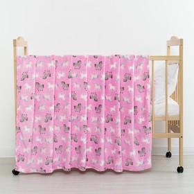 "Плед ""Единороги""цв.розовый 75*105 см, корал-флис, 230 г/м2, 100% пэ"