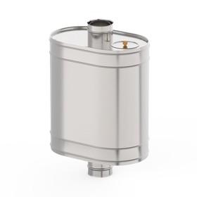 """Бак на трубе для печи 43 л, d 115 мм, нержавейка 0.5 мм (штуцер 3/4"""")"""
