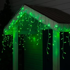 """Гирлянда """"Бахрома"""" 3 х 0.6 м , IP65, УМС, белая нить, 160 LED, свечение зелёное, 220 В"""