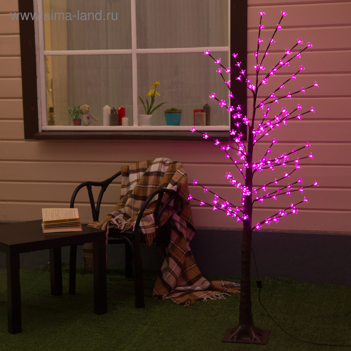 "Дерево светодиодное улич. 1,2 м. ""Ромашки"", 160 LED, 220 В, РОЗОВЫЙ"
