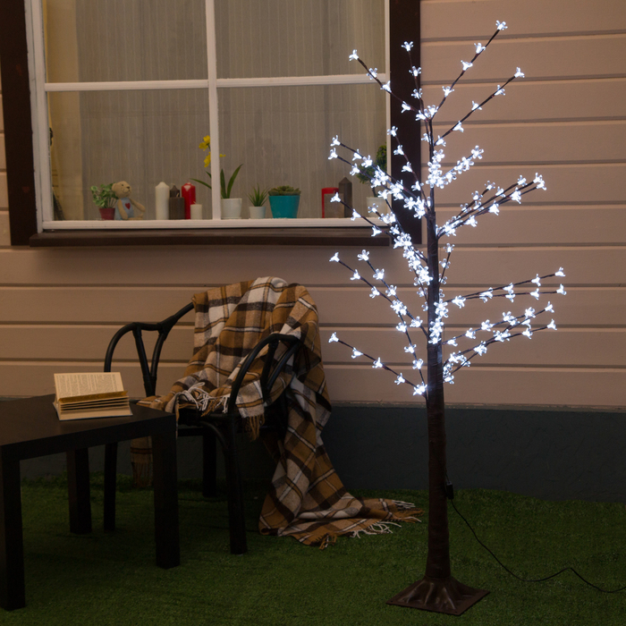 "Дерево светодиодное 1.2 м, ""Ромашки"", 160 LED, 220 В, БЕЛЫЙ - фото 690235780"