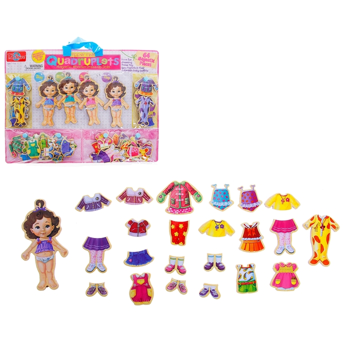 Игра магнитная «Куколки - малышки», 64 элемента, кукла — 13,5 см