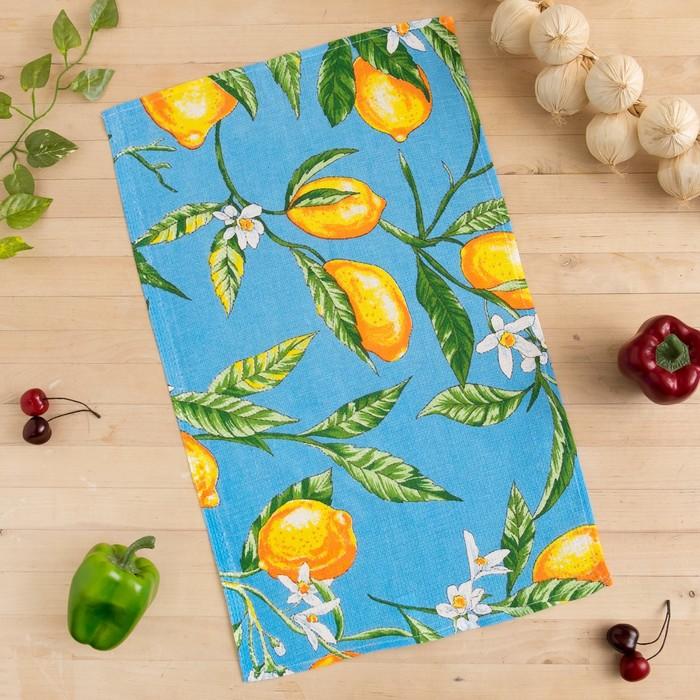 Полотенце вафельное Collorista Лимоны, цвет голубой 35х58,100% хл,160 г/м²