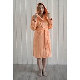 Халат женский с капюшоном, размер 44, персик, махра