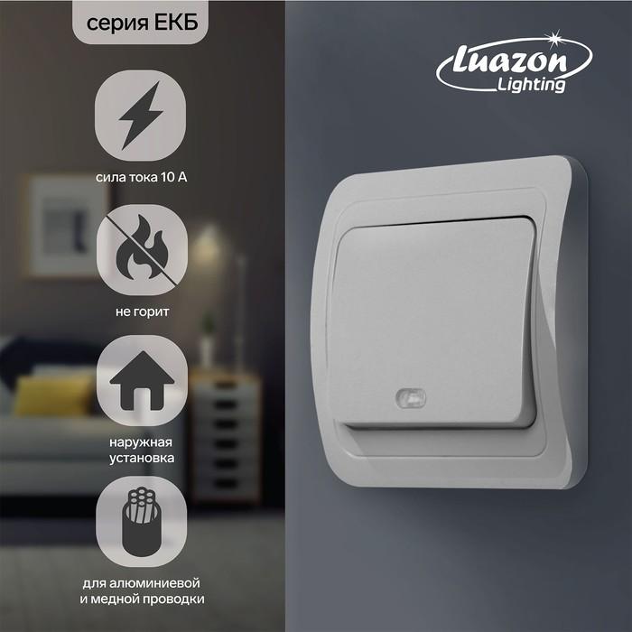 """Выключатель Luazon Lighting """"ЕКБ"""", 10 А, 1 клавиша, с подстветкой, белый"""