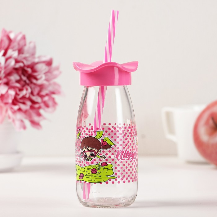 """Бутылка 250 мл """"Николь. Цветок"""", с трубочкой, рисунок и цвета МИКС"""