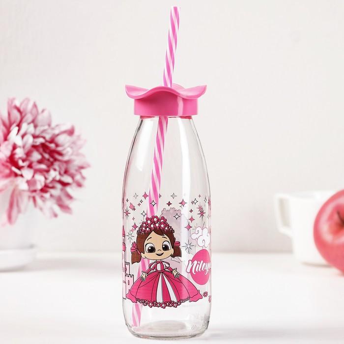 """Бутылка 500 мл """"Николь. Цветок"""", с трубочкой, рисунок и цвета МИКС"""