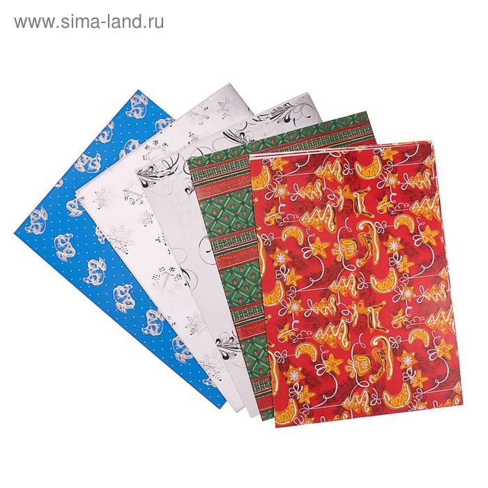 """Набор бумаги для декорирования, """"Новый год №19"""", 0,7 х 1 м х 5 шт., в ассортименте"""